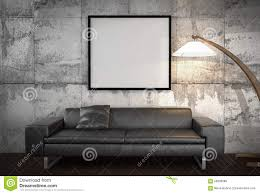 mock up poster big sofa concrete wall background stock