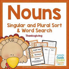 singular and plural noun sort thanksgiving by create learn explore