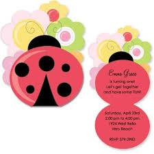 flower lady bug birthday invitations baby cachet
