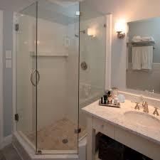 Narrow Bathroom Ideas by Small Bathroom Corner Shower Ideas Built In Storage Cabinets
