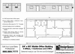 office floor plan sles 24x60 with 5 offices design space modular buildings inc