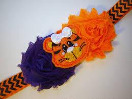 tiger headband baby clemson tiger headband orange and purple shabby flowers