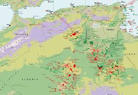 tunisia physical map algeria hydrocarbon map mappery