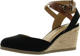 soda womens request closed toe espadrille wedge sandal in black