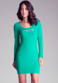 lyst bebe long sleeve scuba dress in green