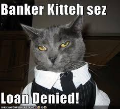 Denied Meme - banker kitteh sez loan denied cheezburger funny memes funny