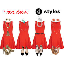 1 red dress worn 4 different ways polyvore