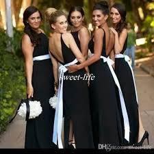 evening wedding bridesmaid dresses black and white bridesmaid dresses backless sash split
