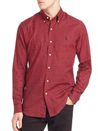 polo ralph lauren slim fit gingham shirt in red for men lyst