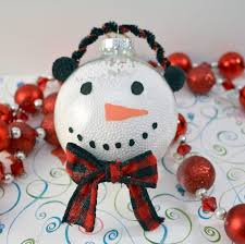 snowman ornament using clear plastic fillable ornaments
