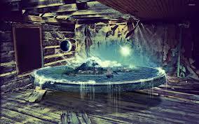 floating world in abandoned room wallpaper digital art