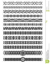 set of deco ornamental borders in black white vintage