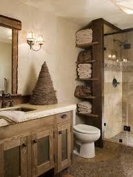 bathroom wooden varnished cabinet warm color rustic bathroom