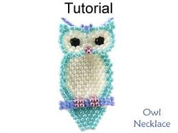 Ruby Red Long Brick Stitch Beaded Owl Necklace Brick Stitch Beading Pattern Tutorial Simple