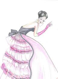 fashion illustration pink gown girls room decor pink dres