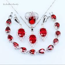 rose zircon necklace images L b white zircon rose created garnet crystal silver color jewelry jpg