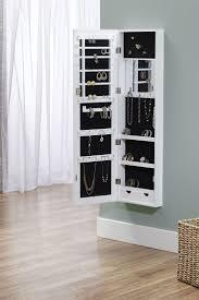 Jewelry Storage Cabinet Furniture White Stand Up Mirror With Jewelry Storage Hanging