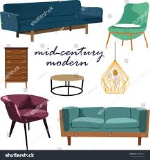 Mid Century Modern Living Room by Retro Furniture Collection Set Elements Realistic Stock Vector
