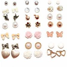 earring stud set flowers and bows assorted stud fashion earrings set of 21