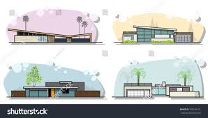vector mid century houses set modern stock vector 520104121
