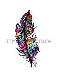 neon tribal feather print by uptonstudios on etsy