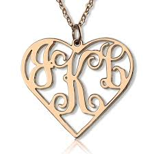 monogrammed pendant necklace gold heart monogram pendant necklace 3 initials