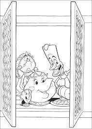coloring page beauty and the beast teapot candle and awakening