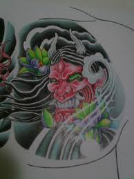 hannya mask chest tattoo design right side detail by crimeskull on