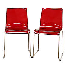 baxton studio lino transparent red acrylic dining chair set of 2