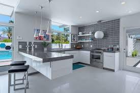 cuisine avec carrelage gris design et conception cuisine 80 cuisines élégantes hotte murale
