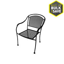 Garden Treasures Patio Chairs Shop Garden Treasures Davenport Black Steel Mesh Stackable Barrel