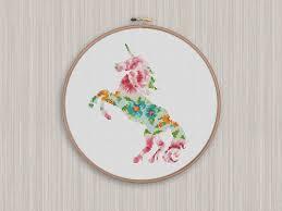 cross home decor bogo free unicorn cross stitch pattern floral unicorn