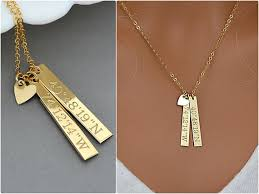 personalized bar pendant necklace dainty coordinates necklace personalized bar necklace vertical