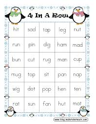 Free Printable First Grade Phonics Worksheets Free 4 In A Row Game Board For Decoding Cvc Words Kinderland