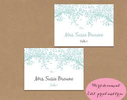 folded table place cards table place name cards editable printable word doc aqua blue