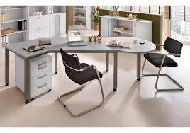 Schreibtisch Halbrund Winkelschreibtisch Tischkombination Büro Mit Rollcontainer Grau
