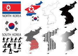 Seoul Flag North And South Korea Vector Maps And Flags With War Theme Royalty