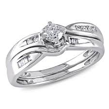 10k white gold wedding band 0 3ctw diamond engagement ring and wedding band 10k white gold 2