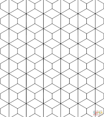 tessellation with rhombus and trapezoid coloring page free