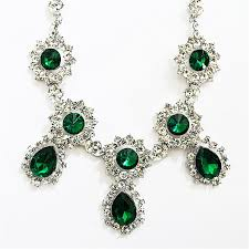 crystal silver necklace images Sparkly drop necklace silver crystal bib necklace in emerald green jpg