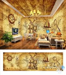 wallpaper for entire wall pirates of the caribbean retro entire room wallpaper wall mural