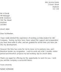 data analyst resignation letter example toresign com