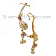 gold kaan earrings 22k gold designed kaan earring with cz stones gold jewelry gold