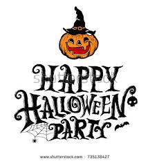 happy halloween party lettering design pumpkin stock vector