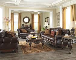 brown living room set north shore old world dark brown wood leather fabric living room