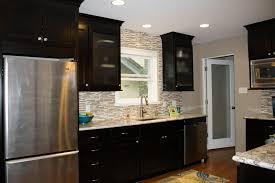 awesome modern kitchen backsplash with black wooden cabinet and
