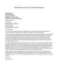 cover letter of internship cover letter for internship sample