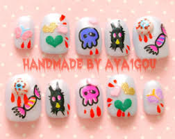 pastel goth japanese 3d nail art creepy cute cross