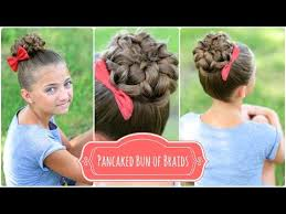 pancaked bun of braids cute girls hairstyles youtube
