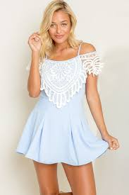 light blue crochet lace overlay bare shoulder casual dress